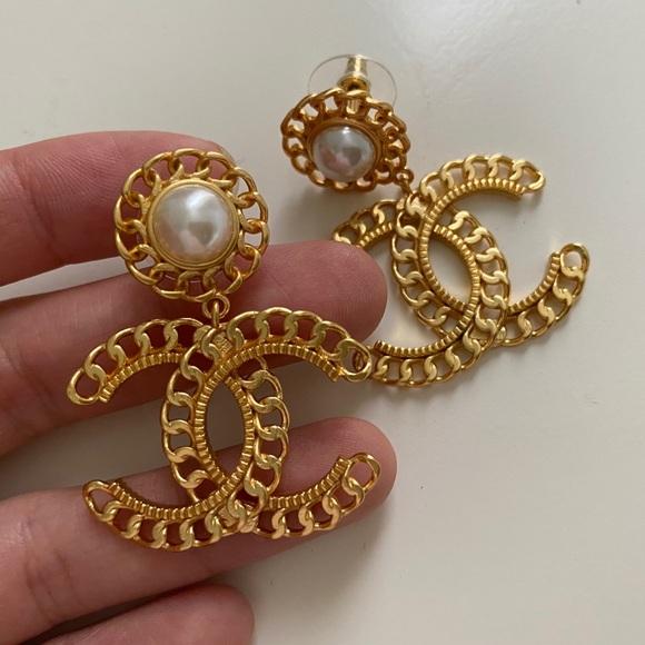 Chanel Gold Pearl Logo Earrings